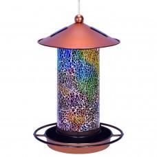 Solar Bird Feeder for Outside - Mosaic Copper Outdoor Hanging Lantern
